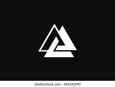 Minimalistic triangle geometric logo with ethno style