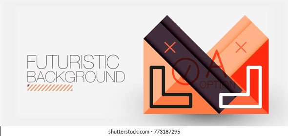 Minimalistic triangle modern banner design, geometric abstract background. Vector hi-tech futuristic