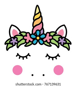Minimalistic unicorn face with floral wreath