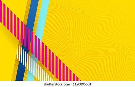 Minimalistic Vector Abstract Background texture design, bright poster, banner yellow lines of illusion background pink and blue stripes and shapes.