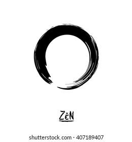 Minimalistic vector Enso zen circle.