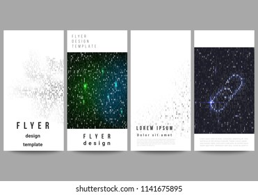 The minimalistic vector illustration of the editable layout of flyer, banner design templates. Binary code background. AI, big data, coding or hacker concept, digital technology background.