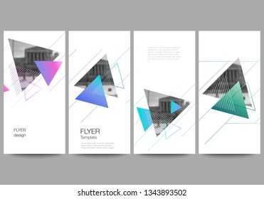 The minimalistic vector illustration of the editable layout of flyer, banner design templates. Colorful polygonal background with triangles with modern memphis pattern.