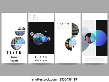The minimalistic vector illustration of the editable layout of flyer, banner design templates. Creative background with circles and round shapes that form planets and stars.