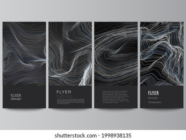 The minimalistic vector illustration of the editable layout of flyer, banner design templates. Smooth smoke wave, hi-tech concept black color techno background. - Shutterstock ID 1998938135