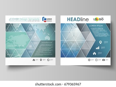 The minimalistic vector illustration of the editable layout of two square format covers design templates for brochure, flyer, booklet. Chemistry pattern, connecting lines and dots. Medical concept.