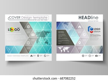 The minimalistic vector illustration of the editable layout of two square format covers design templates for brochure, flyer, booklet. Molecule structure, connecting lines and dots. Technology concept