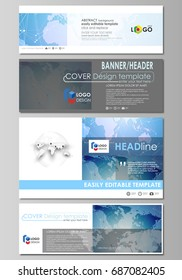The minimalistic vector illustration of editable layout of social media, email headers, banner design templates in popular formats. World map on blue, geometric technology design, polygonal texture.