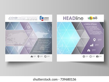 The minimalistic vector illustration of editable layout of two square format covers design templates for brochure, flyer, booklet. Polygonal texture. Global connections, futuristic geometric concept.