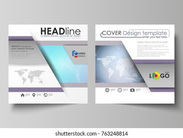 The minimalistic vector illustration of editable layout of two square format covers design templates for brochure, flyer, magazine. Polygonal texture. Global connections, futuristic geometric concept.