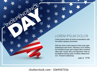 Minimalistic Vector independence day poster flyer template - folded american flag