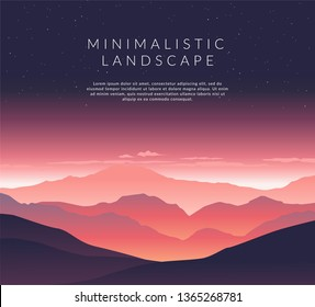 Minimalistic vector landscape background for your design. Color hill silhouette background.