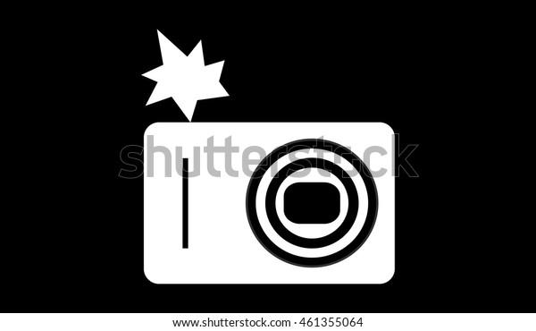 Minimalistic white camera image with flash on black background. Flat design.
