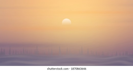 Minimalistic winter landscape. The sun is setting, a forest on the horizon and fog.