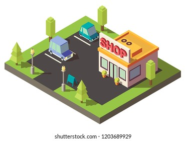 Minimarket in isometric. 3d store layout with parking. Low poly shop model vector illustration.