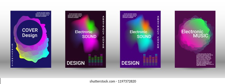 Minimum coverage of the vector. Cover design. Set of modern abstract musical backgrounds. Sound flyer for creating a fashionable abstract cover, banner, poster, booklet.