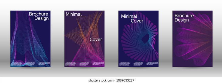 Minimum coverage of a vector. A set of modern abstract backgrounds with abstract gradient linear waves. Sound flyer for creating a fashionable abstract cover, banner, poster, booklet.