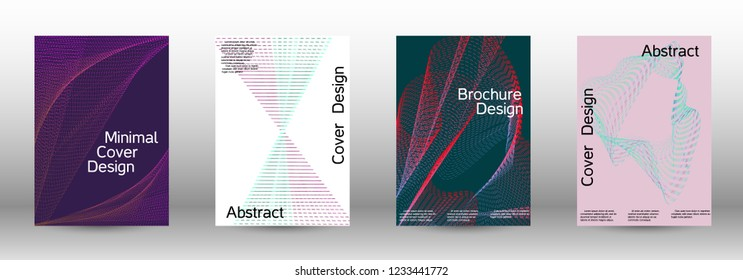 Minimum coverage of a vector. A set of modern abstract backgrounds with abstract gradient linear waves. Fashionable style.  Sound flyer for creating a fashionable abstract cover, banner,poster.