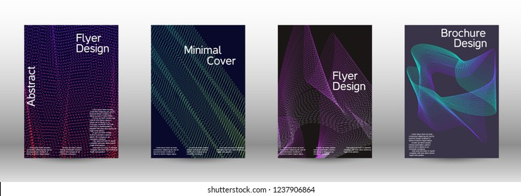 Minimum coverage of a vector. A set of modern abstract backgrounds with abstract gradient linear waves. Fashionable style.  Suitable for creating a fashionable abstract cover, banner, poster.
