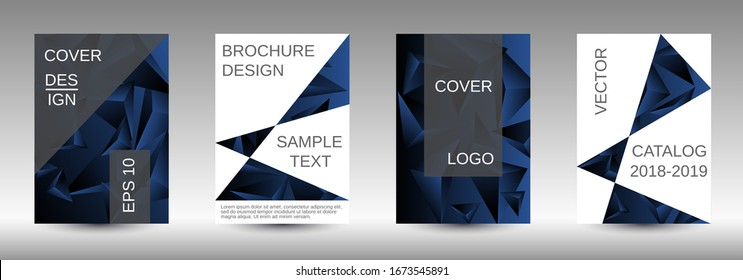 Minimum vector coverage. A set of modern abstract covers. Creative black triangle element vector. Geometric booklet cover template design.