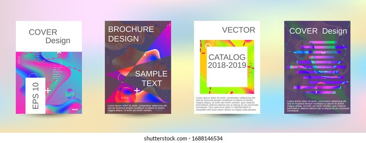Minimum vector coverage. A set of modern abstract covers. Colorful rainbow gradient. Bright print.