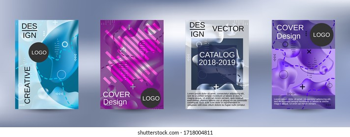 Minimum vector coverage. A set of modern abstract covers. Trendy creative vector cosmic gradient. Smooth banner template.