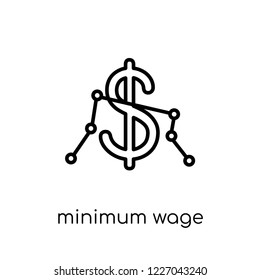 Minimum wage icon. Trendy modern flat linear vector Minimum wage icon on white background from thin line Business collection, editable outline stroke vector illustration