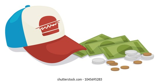 Minimum wage illustration with fast food uniform hat and some change