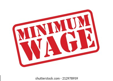 MINIMUM WAGE red Rubber Stamp vector over a white background.