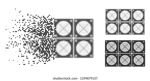 Mining ASIC farm icon in disappearing, dotted halftone and undamaged whole versions. Pixels are combined into vector dissolving mining ASIC farm figure. Disappearing effect uses rectangle pixels.