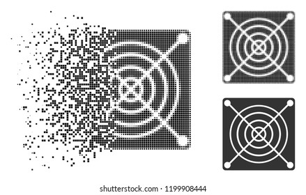 Mining ASIC hardware icon in dissipating, dotted halftone and undamaged solid versions. Points are organized into vector dispersed mining ASIC hardware icon.