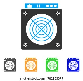 Mining Asic Hardware icon. Vector illustration style is a flat iconic mining asic hardware symbol with gray, green, blue, yellow color variants. Designed for web and software interfaces.