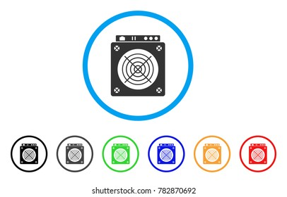 Mining Asic Hardware rounded icon. Style is a flat gray symbol inside light blue circle with additional colored variants. Mining Asic Hardware vector designed for web and software interfaces.