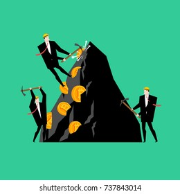 Mining bitcoin pool concept. Minir Extraction Crypto currency businessman screams for virtual money. Vector illustration