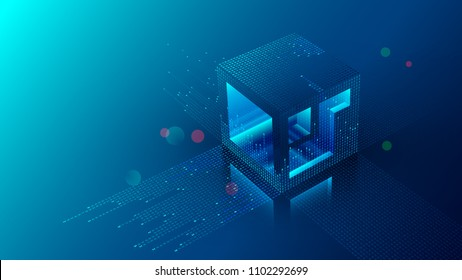 Mining blockchain concept illustration. Digital crypto currency abstract background. Fintech technology