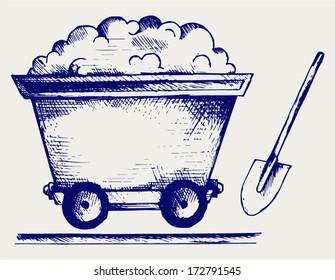Mining cart. Doodle style