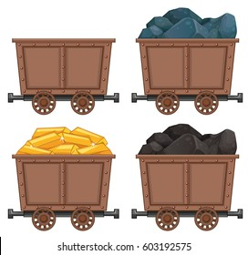 Mining carts with stones and gold illustration