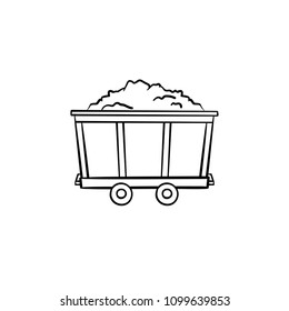 Mining coal trolley hand drawn outline doodle icon. Old coal wagon as mining industry concept vector sketch illustration for print, web, mobile and infographics isolated on white background.