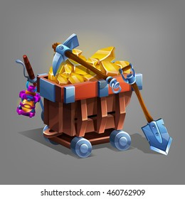 Mining concept background. Mine trolley with golden ore, shovel and pickaxe. Vector illustration.