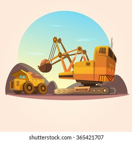 Mining concept with heavy industry machines and coal truck retro cartoon style vector illustration
