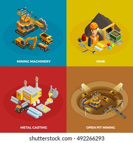 Mining concept icons set with machinery symbols isometric isolated vector illustration