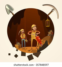 Mining concept with manual workers in mine with drilling tools cartoon retro style vector illustration