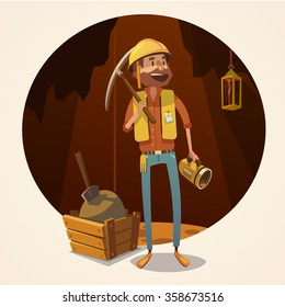 Mining concept with retro cartoon style miner in coalmine vector illustration
