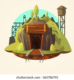 Mining concept with retro wooden mine entrance with railway cartoon vector illustration