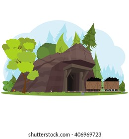 Mining concept with retro wooden mine entrance with railway cartoon vector illustration.