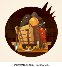 Mining concept with trolley with minerals and working tools retro cartoon vector illustration