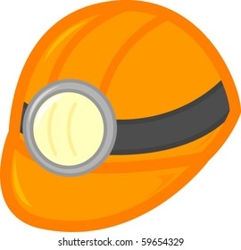 mining or construction worker hardhat helmet with light