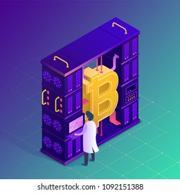 Mining crypto currency. Bitcoin farm concept. Isometric vector illustration.