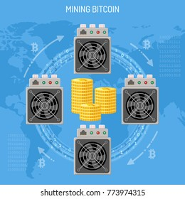 Mining crypto currency bitcoin technology concept. Asic miner computer process transactions, make blokchain and mining bitcoins. Flat style icons. Vector illustration.