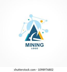 Mining crypto logo mountain pick blockchain